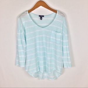 GAP Striped 3/4 Sleeve Blouse Size L